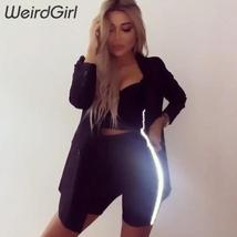 Weirdgirl women sporting suits 2 pieces fitness casual reflection slim pullover  image 5