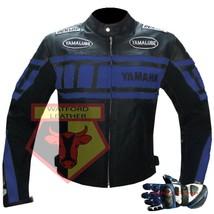 YAMAHA 0120 BLUE MOTORBIKE BIKER COWHIDE LEATHER JACKET WITH FREE PAIR O... - $214.99