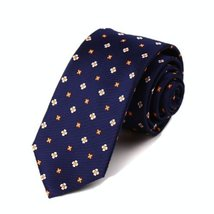Dark Blue Classic Sunflower Patterned Tie Men Ties Neckties Waterproof Ties 7CM