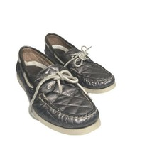 Sperry Top-Sider Women's Boat Shoes Leather Quilted Silver Metallic Size 8M - $15.84