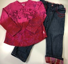 Pampolina Girls Top & Jeans Set Pink Floral Long Sleeve Stretch Cotton 1... - $19.79