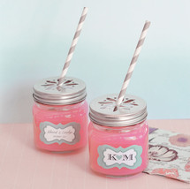 50 Personalized Mason Drinking Jar & Striped Straw Wedding Favor Container - $97.18
