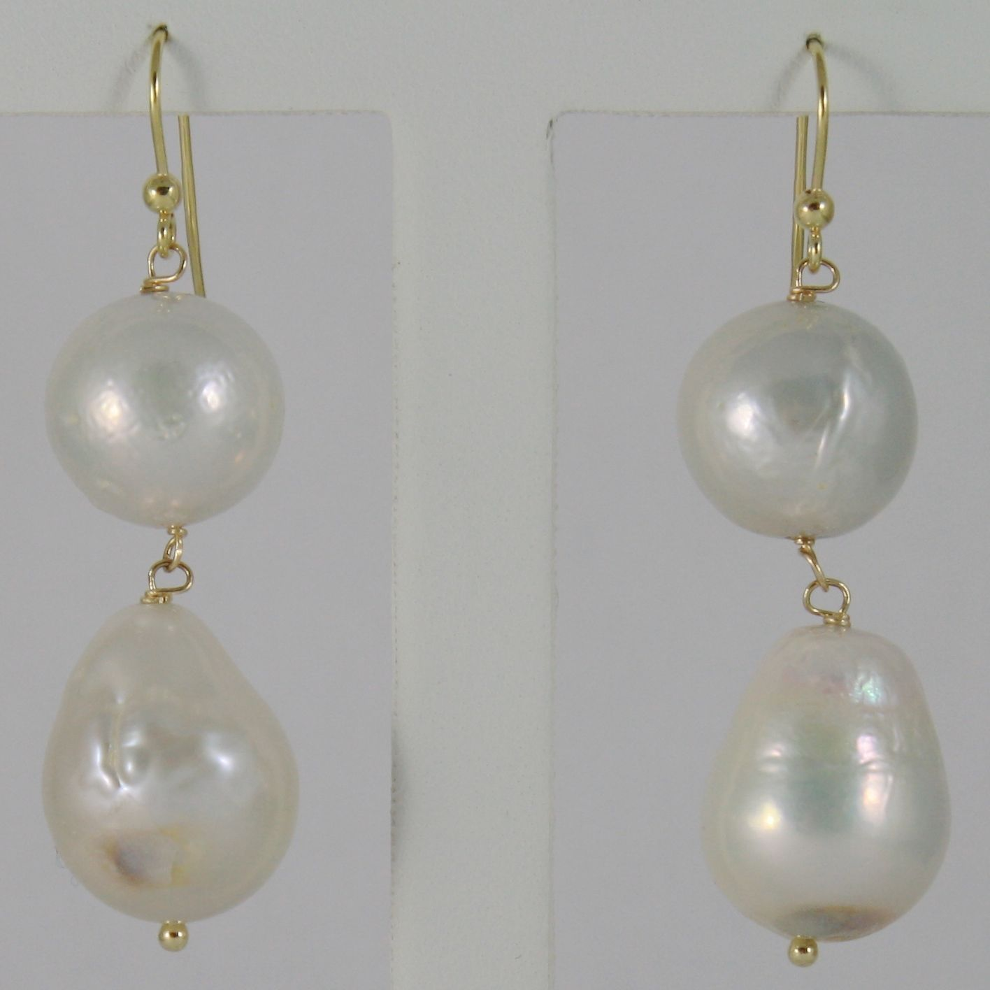 18K YELLOW GOLD PENDANT EARRINGS WITH BIG 13-20 MM WHITE FW ROUND & DROP PEARLS