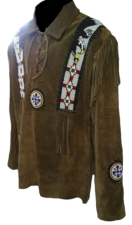 QASTAN Men's New Green Western Eagle Beads Fringes Leather Shirt Jacket QMFJ125