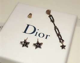 Authentic Christian Dior Star Black Grey Crystal DIOR Dangle Drop EARRINGS  image 5