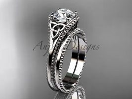 Celtic knot wedding rings sets 14k white gold engagement ring CT7375S - $1,095.00