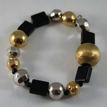 .925 RHODIUM SILVER AND ELASTIC BRACELET WITH BLACK ONYX AND GOLDEN SPHERE image 1