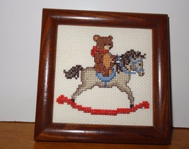 Finished Cross Stitch picture of Teddy Bear rid... - $42.09