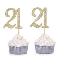 Giuffi Set of 24 Golden Number 21 Cupcake Toppers 21st Birthday Celebrat... - $11.83
