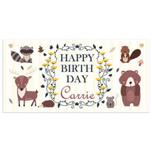 Woodland Autumn Creatures Birthday Banner Party Decoration Backdrop - $22.28+