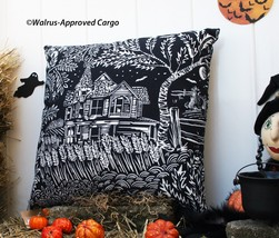 POTTERY BARN SPOOKY HOUSE OUTDOOR PILLOW -NWT- MAKE YOUR HAUNT THE SEAT ... - $59.95