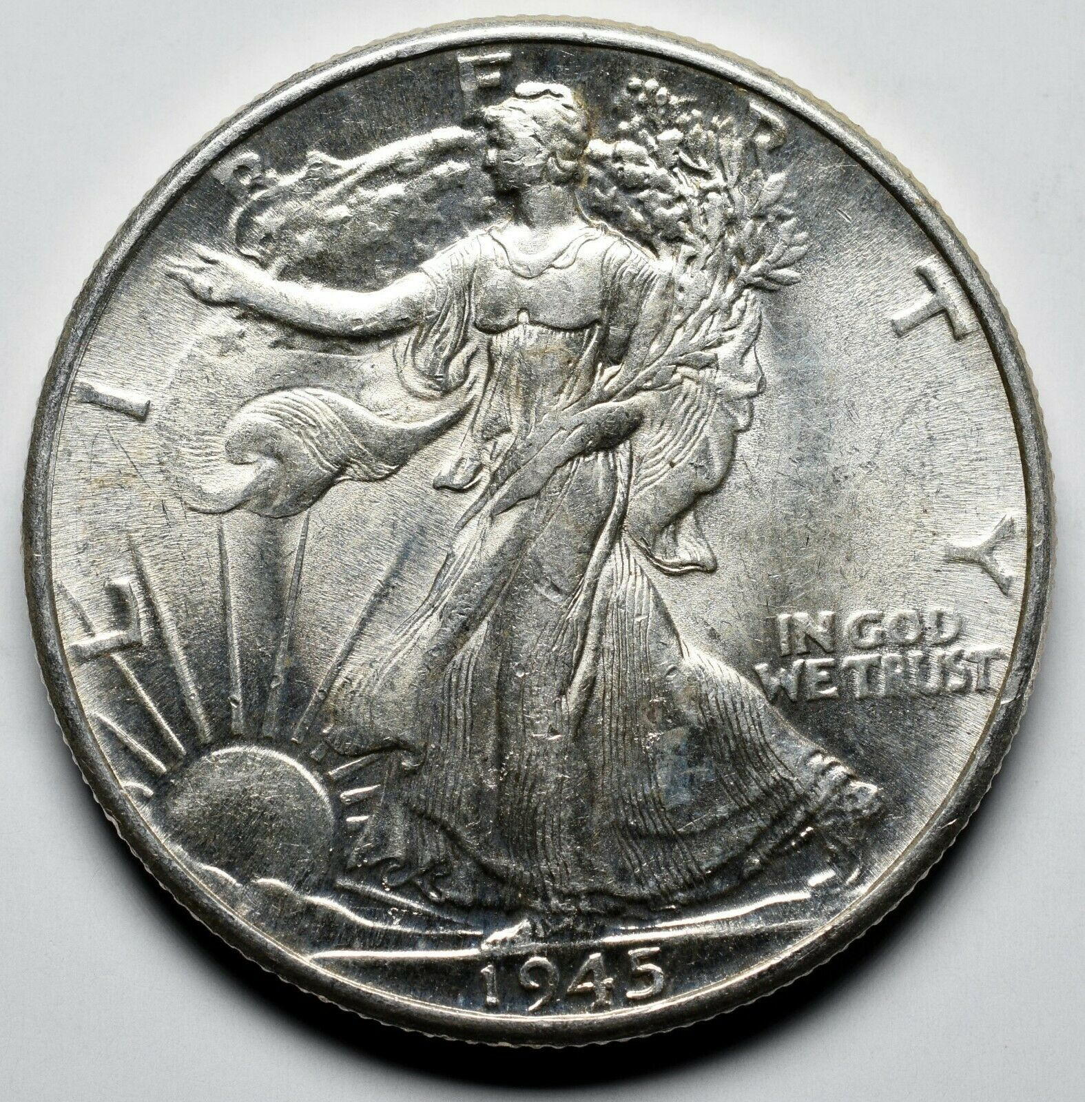 1945 Walking Liberty Half Dollar 90% Silver Coin Lot# A 216