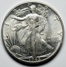 1945 Walking Liberty Half Dollar 90% Silver Coin Lot# A 216 image 1