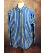 American Eagle Outfitters Button Down Long Sleeve Blue Yellow Stripe Men... - $12.66