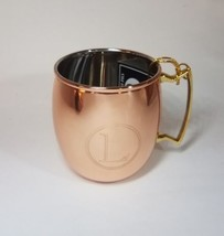 "Moscow Mule Mug Solid Copper 16oz Nickel Lined Monogrammed ""L"" Great Gift - $9.89"