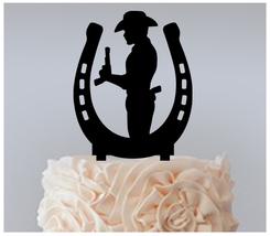 Wedding,Birthday Cake topper,Cupcake topper,silhouette cowboy horseshoe : 11 pcs - $20.00