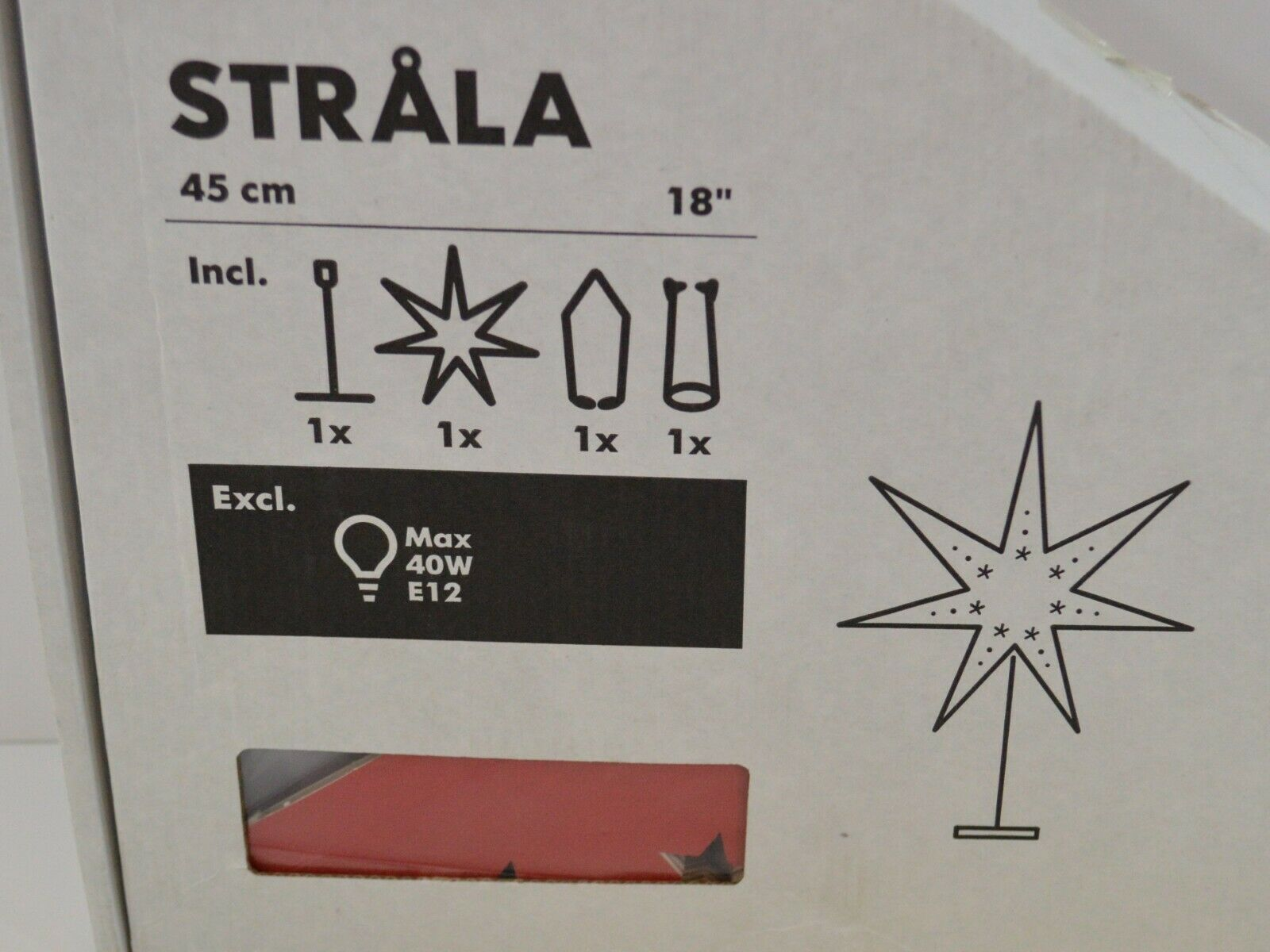 "IKEA Strala Star Lamp w/ Shade RED 18"" NEW IN BOX Home Decor 12.682.44"