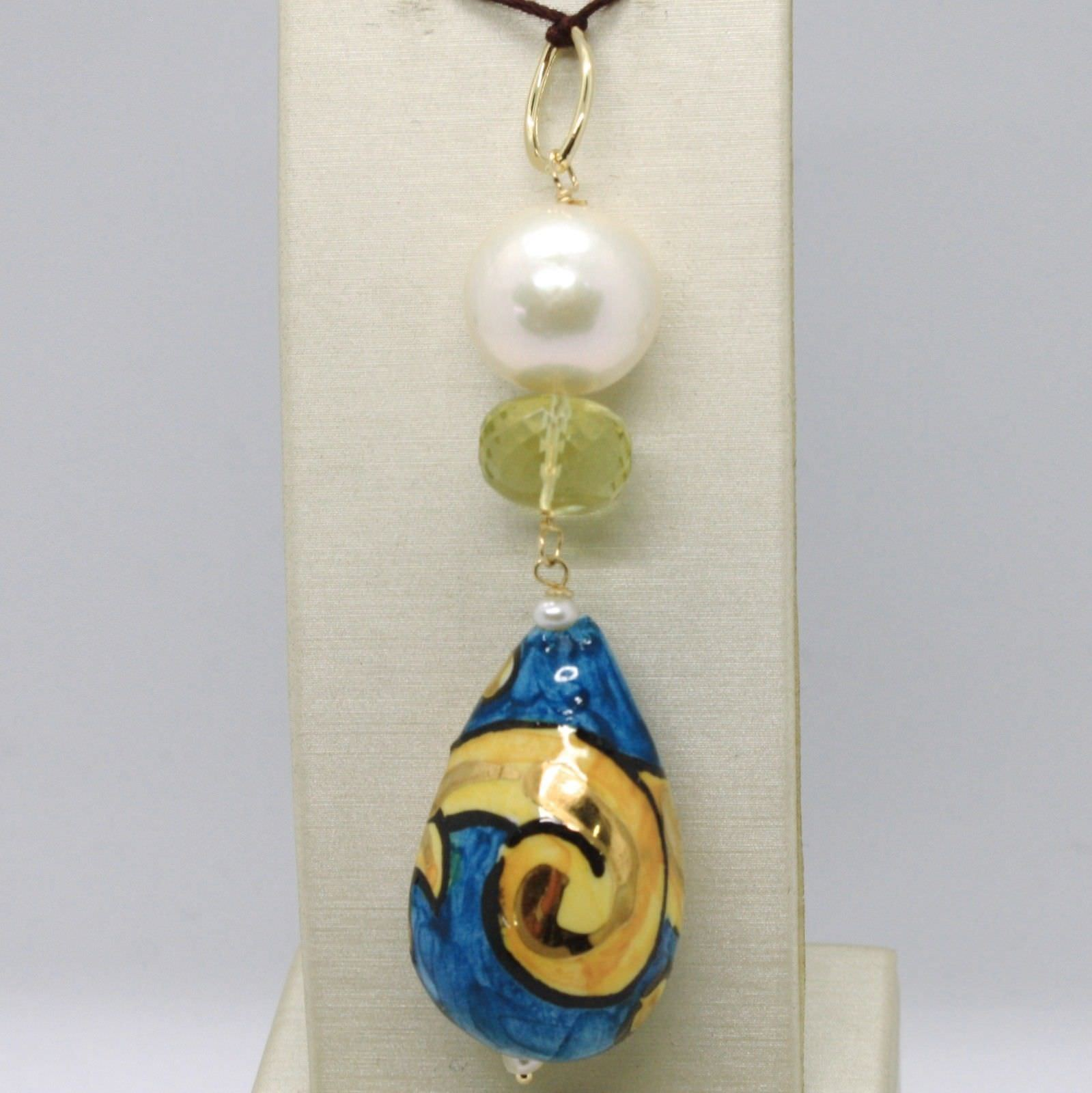 PENDANT YELLOW GOLD 18K 750 WITH PEARL QUARTZ AND CERAMICS BLUE MADE IN ITALY