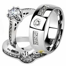 His andHer 3 Pc Stainless Steel Bridal Ring Set & Men's Zirconia Wedding... - $25.46+