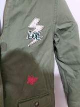 girls childrens place fuzzy hood army green LOL jacket size l 10/12.. - $29.70
