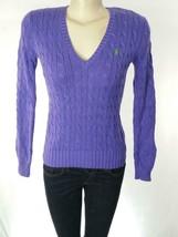 Ralph Lauren Sport Women's Purple V Neck Cable Knit Cotton Sweater Sz S ... - $44.97