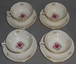 Set (4) Lenox RHODORA PATTERN Cups and Saucers MADE IN USA - $23.75
