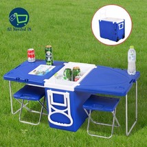 Multi Function Rolling Cooler With Table & 2 Chairs Picnic Camping Outdo... - €87,92 EUR