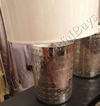 Pottery Barn Adrienne Table Lamp Base Etched Mercury Glass Silver NIB - $179.10