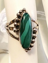 Vintage Southwest Ring Sterling Silver with Malachite Size 5 - $25.33