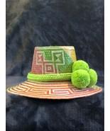 colorful Wayuu Hat Woven Straw HandCrafted Stylish Pom pom Panama Hat Sun M - $75.00
