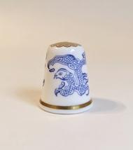 Dragons Spode Thimble Vintage Fine Bone China England Blue White Gold Trim - $20.00