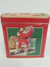 Santa Claus Coca Cola Merry Christmas Tin Vintage 90s Happy Holidays Collectible - $18.65