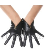 BLACK ZIP LEATHER GLOVES LES DEBUTANTES - $19.99
