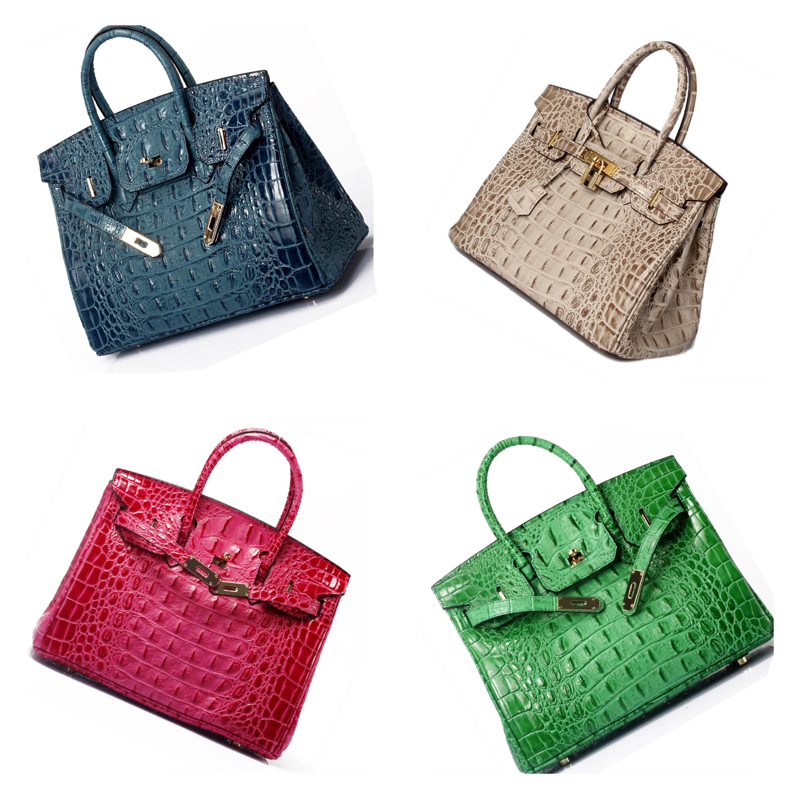 35 cm Crocodile Embossed Italian Leather Birkin Style Handbag Shoulder Bag 1633L