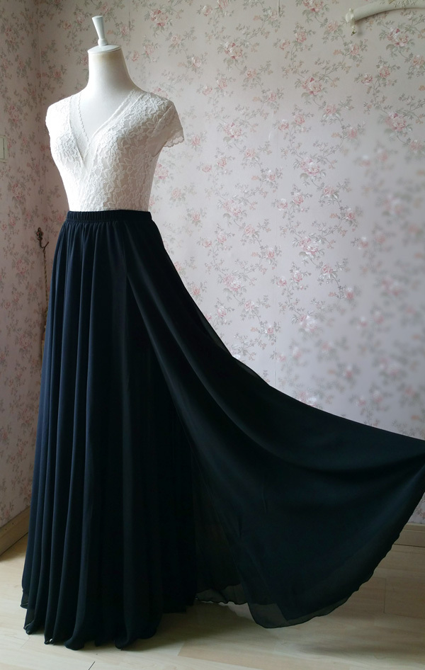 Women Black Chiffon Maxi Skirt Slit Black Silk Chiffon Maxi Skirt with Split