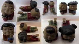 Asian Children Pair Happy Boy Girl Reclining Bisque & Glazed Pottery Num... - $29.69