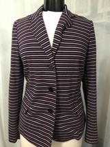 Talbots Women's Blazer Purple Black White Striped 3 Button Size Medium - $38.61