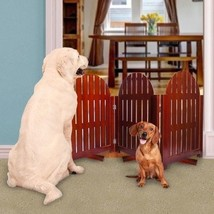 "Wooden Pet Gate Doggy Fence Adirondack Style Self- Standing 48"" Wide 3 P... - $64.96"