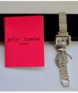 Designer Betsy Johnson Silver Stainless Fashion Bracelet Watch & Box - $48.50