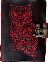 Prastara Handmade Owl Embossed Leather Goat Journal Pocket style Double ... - $40.00