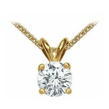 1 Carat Round Cut Solitaire Pendant Necklace And Chain in Solid 14K Rea... - $112.23