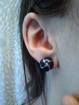 Vintage Bold 80s Gold Tone Dark Blue Enamel Criss Cross Stud Pierced Ear... - $9.99