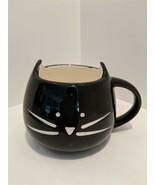 Modern Black Feline Cat Face Ceramic Coffee Tea Mug New - $13.81