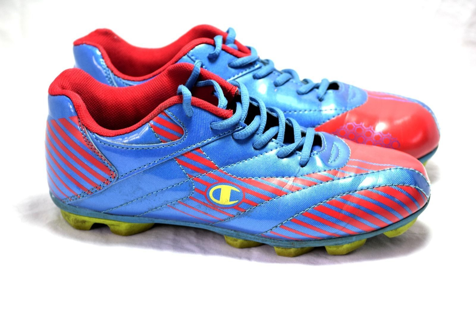 0056cb01d Champion Youth Sz 4.5 Soccer Cleats Sports Shoes Athletic Red Blue
