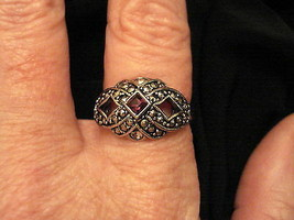 Avon STATEMENT RING February Birthstone Faux Marcasite Silver Tone ✿ EUC... - $19.75