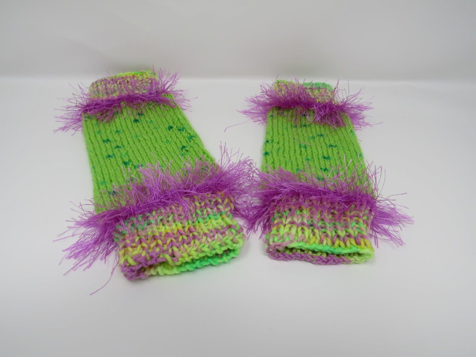 Handcrafted Knitted Legwarmers Green/Violet Fuzzy Female Kids 0-1 Striped