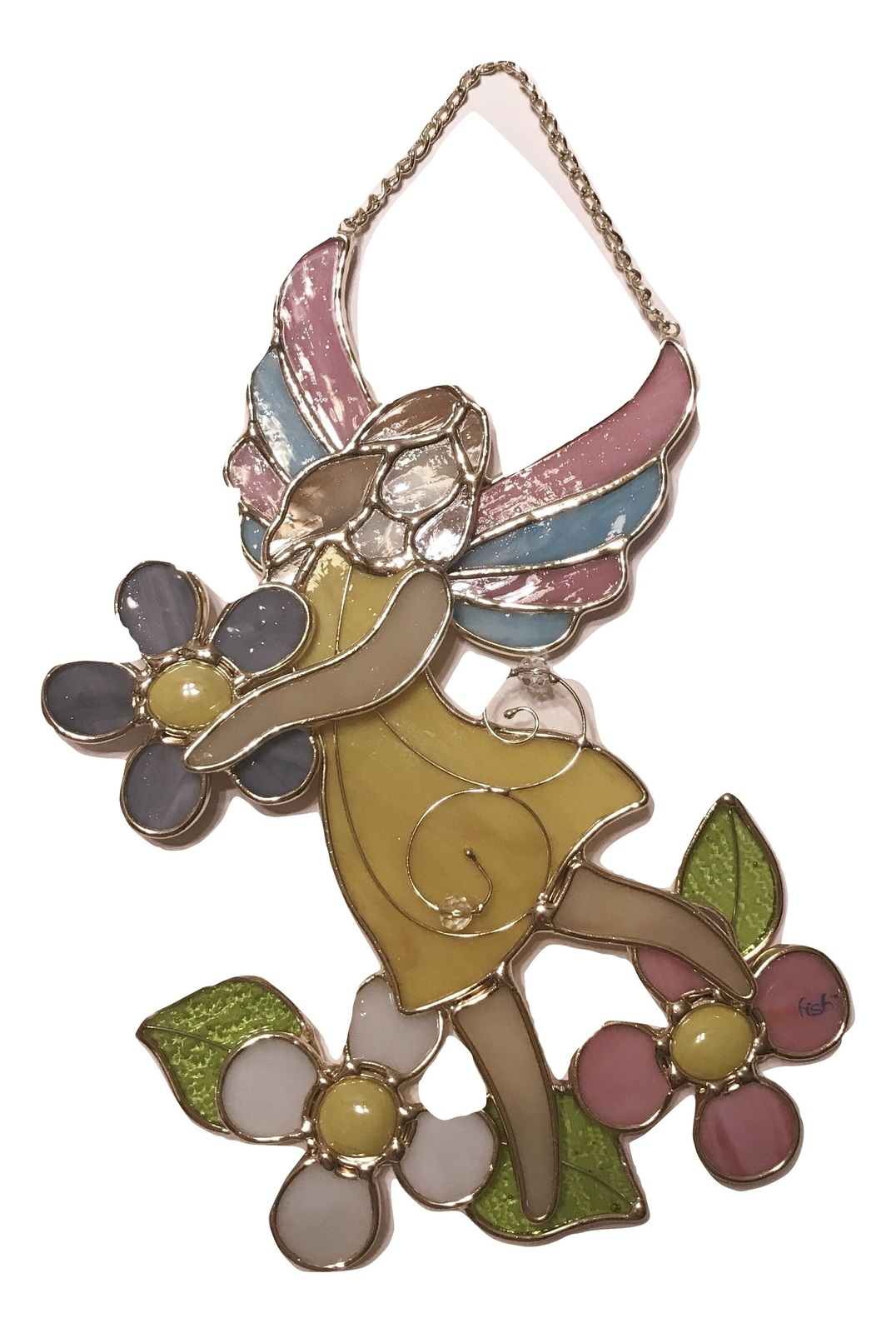 Stain glass fairy holding a flower wall plaque suncatcher 1 burned