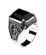 Real Black Square Obsidian Stone Ring Vintage Pure 925 Sterling Silver F... - $34.99