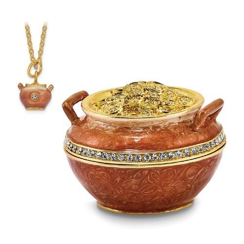 Bejeweled Crystal Enameled Pot of Gold Trinket Box