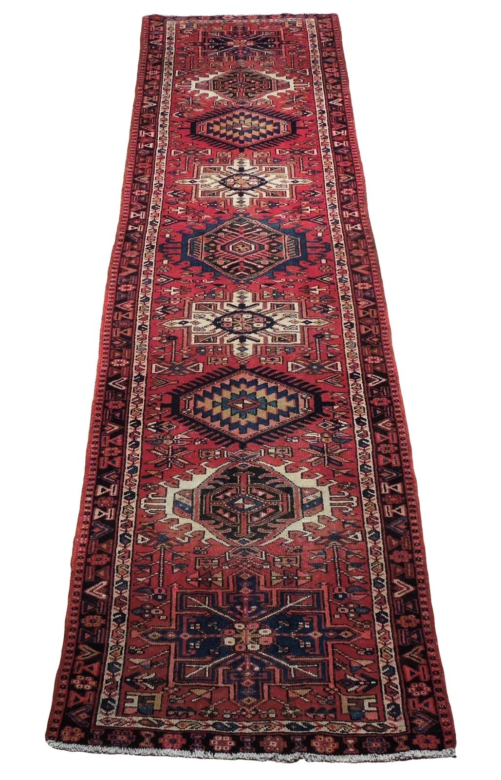 Red 3 x 13 All-Over Classic Tribal Design Runner Karaja Persian Handmade Rug